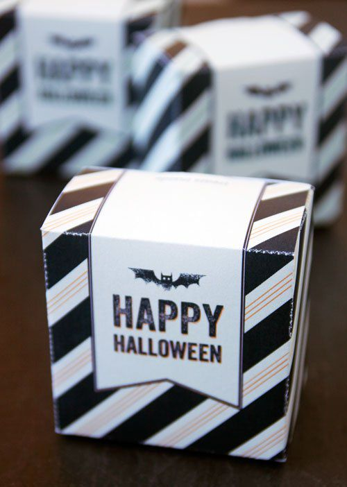 DIY Black And White Striped Halloween Treat Box
