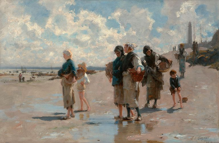 Scene of women and children fishing for oysters on beach