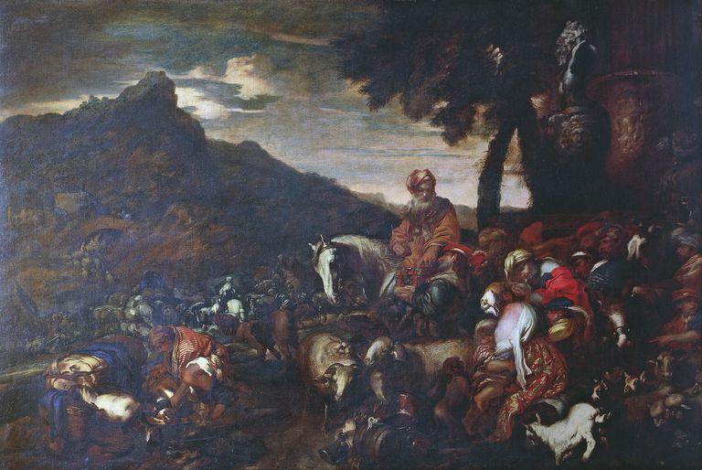The journey of Abraham's family, by Giovanni Benedetto Castiglione, known as il Grechetto (1609-1664), oil on canvas, 186x282 cm