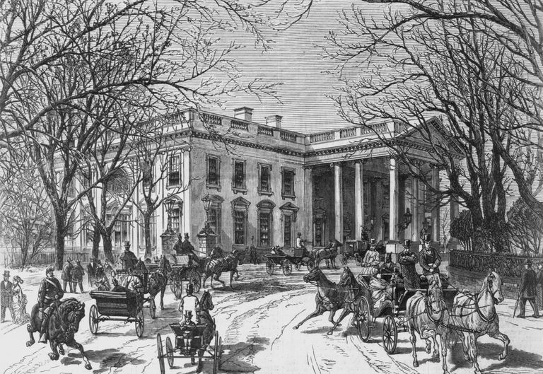 Engraved illustration of the White House in winter in the 19th century