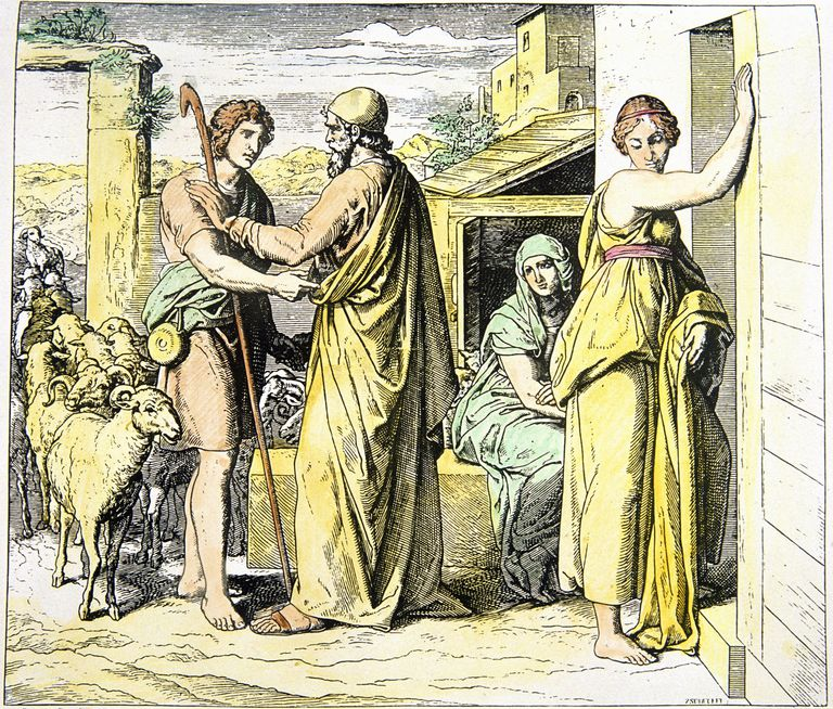 Jacob asks Laban for Rachel's hand, Leah in background, engraving by Schnorr von Carolsfeld, Germany