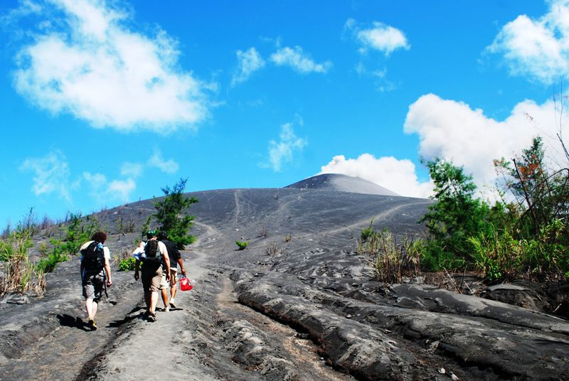Image of hikers climbing Anak Krakatau.