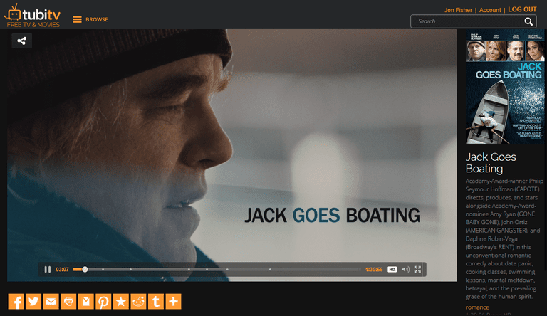 Screenshot of the movie Jack Goes Boating at Tubi TV