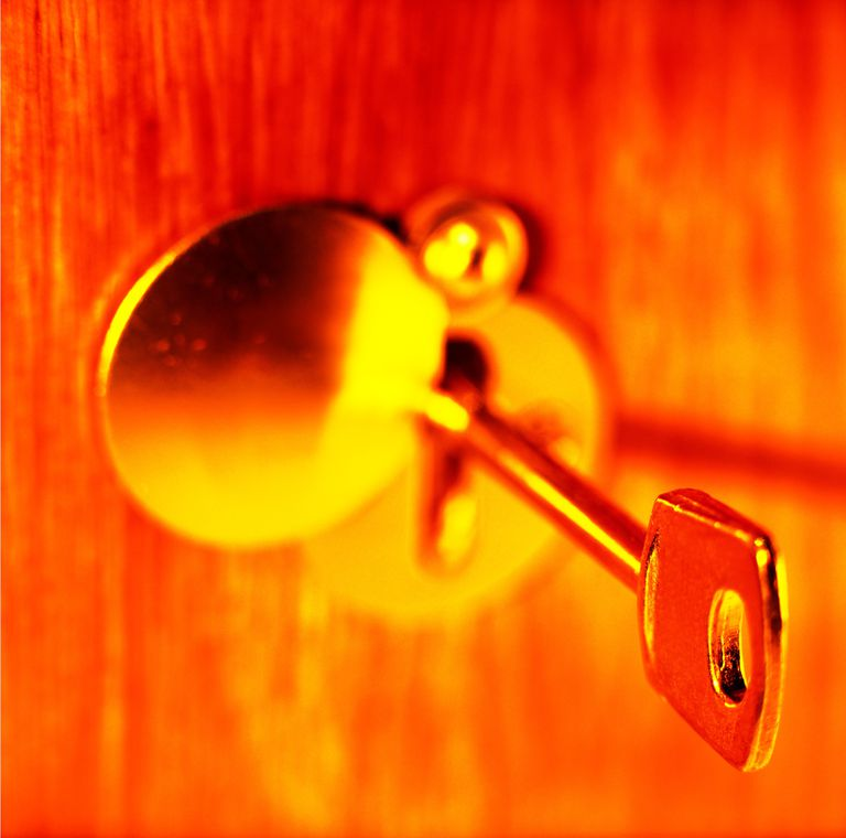 close-up of a key in a keyhole