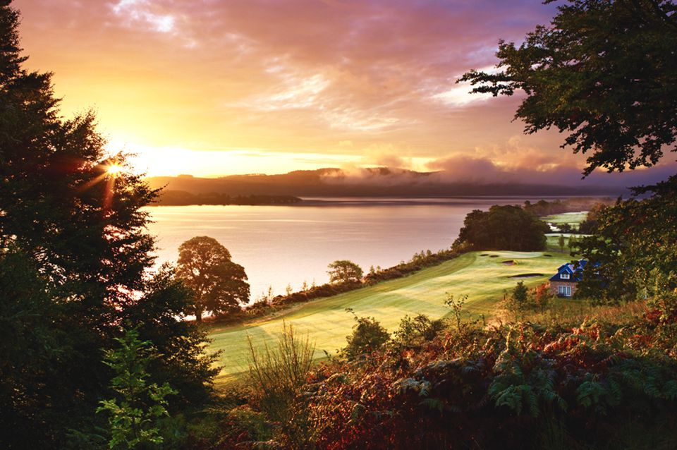 Amazing sunset at Cameron House Loch Lomond Hotel in Scotland