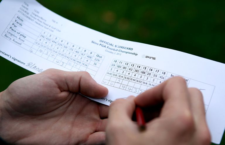Writing down golf scores