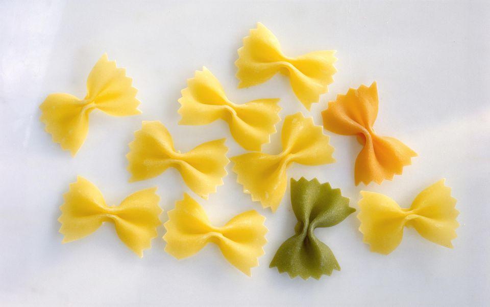 Raw farfalle pasta