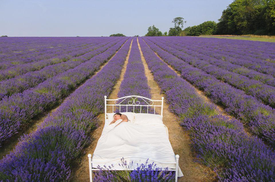 Make your own essential oil sleep spray.