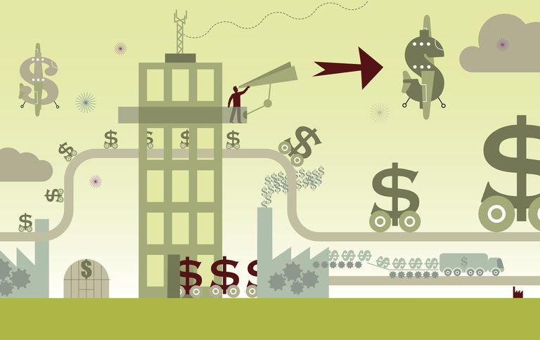 Dollar signs moving along production line