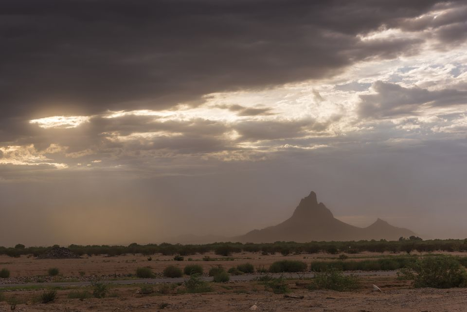 Sandstorm at sunset in the Arizona desert