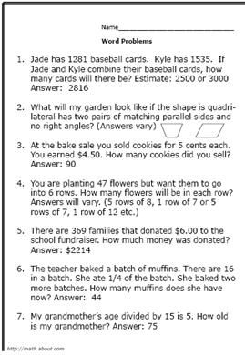 4th-Grade Math Word Problems
