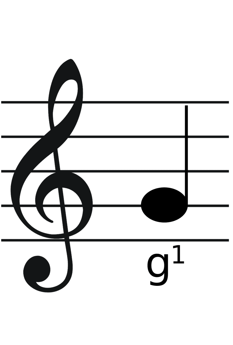 Treble clef with g1 quarter-note