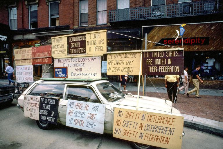 View Of Libertarian Signs Affixed On A Car