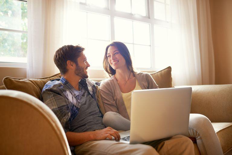 Smiling together over social media