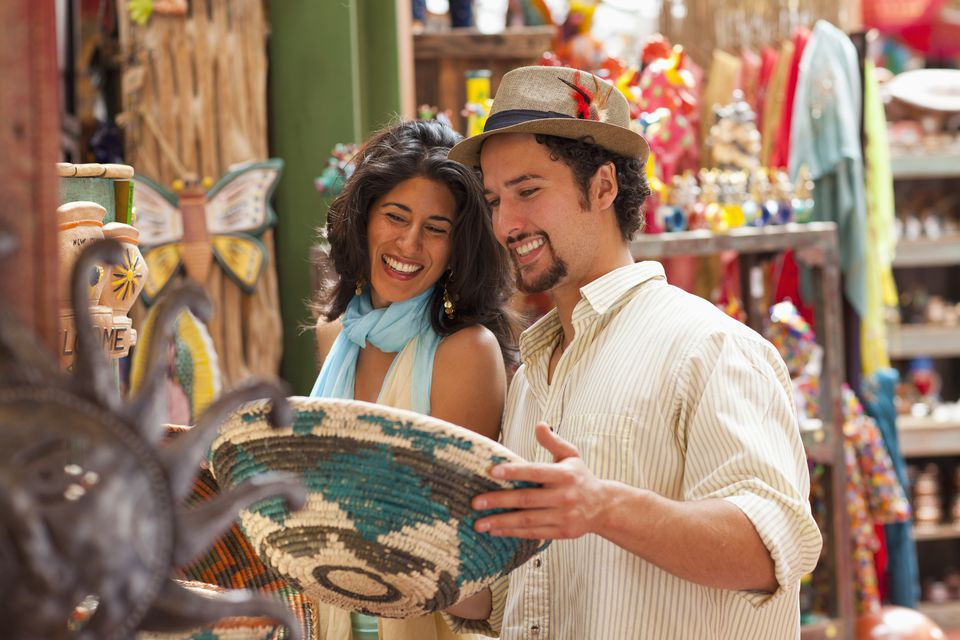 Couple shopping for souvenirs together in Santa Fe