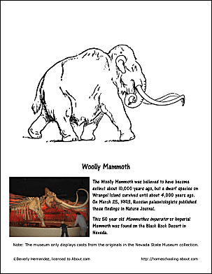 Unique march holidays and teachable moments for Wooly mammoth coloring page