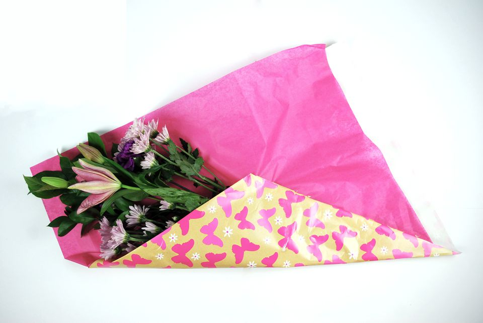 How to gift wrap fresh flowers like a pro tissue paper wrapped flowers mightylinksfo Gallery