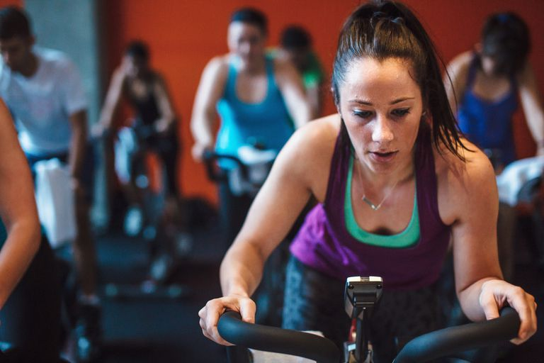 Woman at spin class