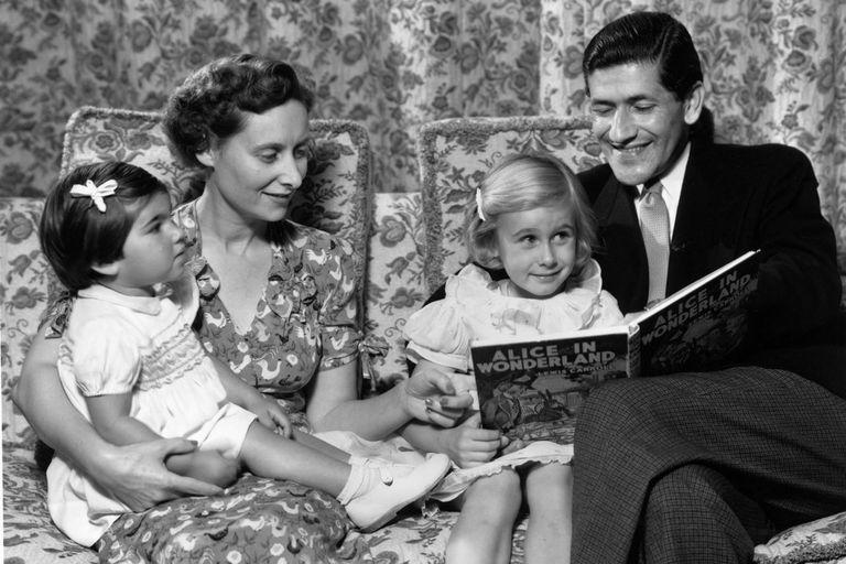 family reading a story