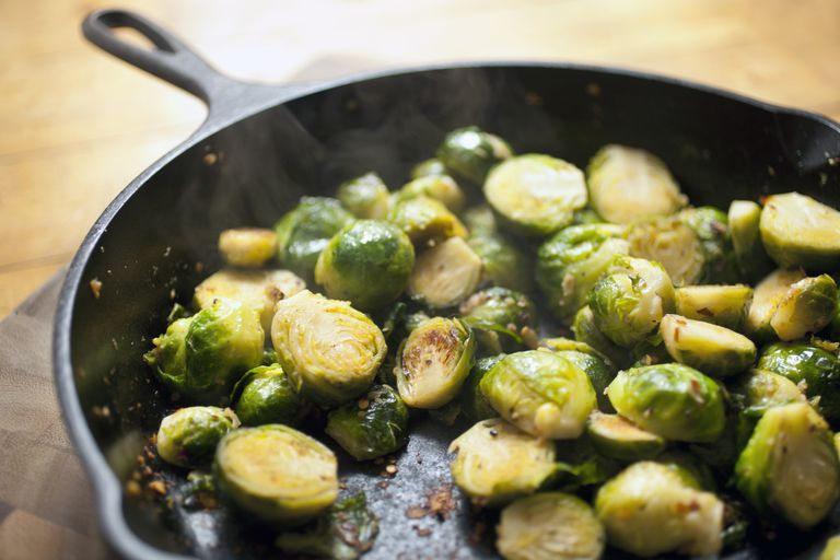 Pan of brussels sprouts