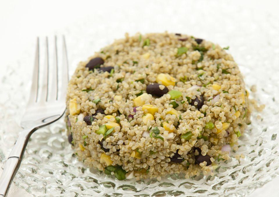 Vegetarian quinoa salad with black beans and corn