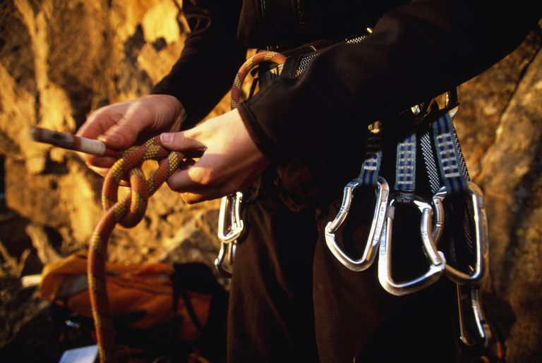 Rock Climber Tying-In to a Climbing Rope