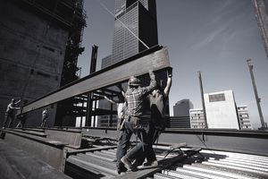 IRON WORKERS WITH GIRDER IN CHICAGO