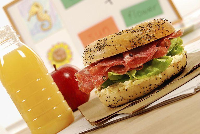 sandwich, apple and orange juice