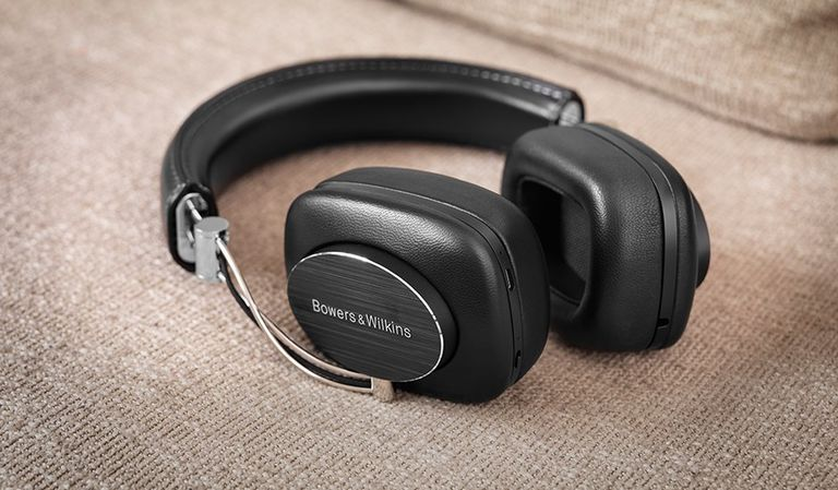 The Bowers & Wilkins P7 Wireless headphones on soft fabric