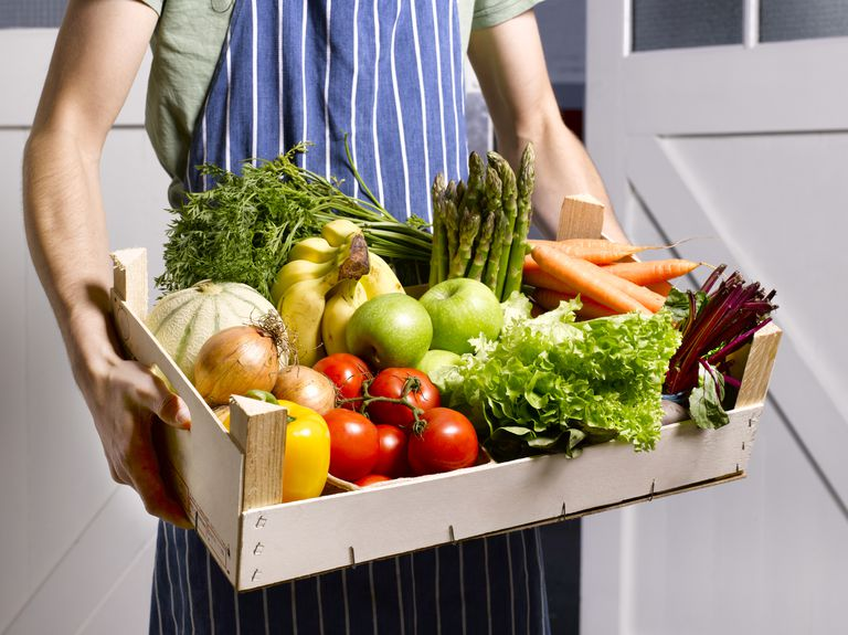 Man delivering fruit and vegetable box
