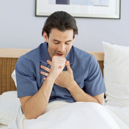man coughing, coughing after surgery, coughing post operatively