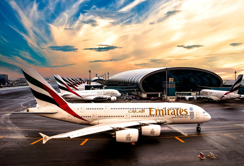 Emirates Airline A380 Jet at Dubai Airport