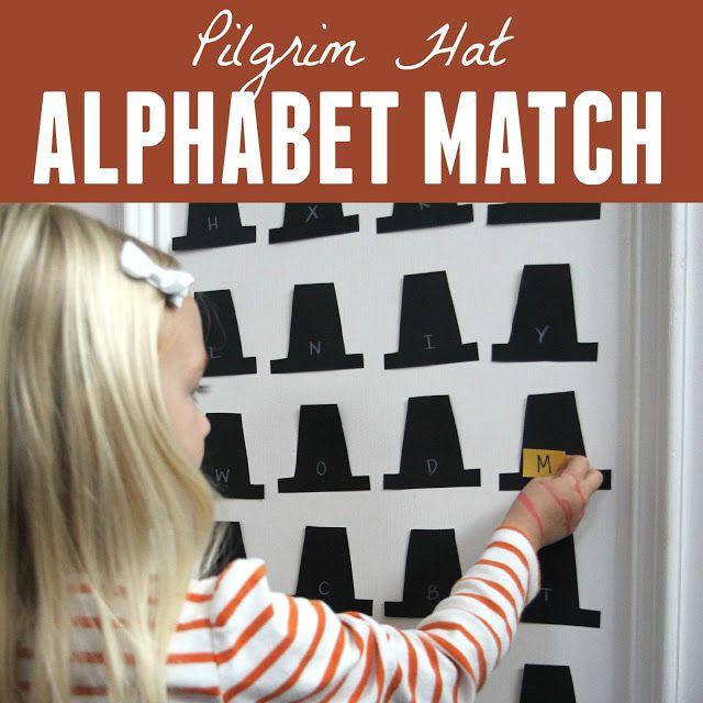 Pilgrim Hat Alphabet Match for Kids