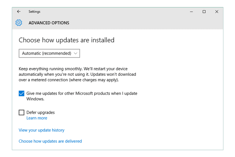 Screenshot of the Advanced Windows Update screen in Windows 10
