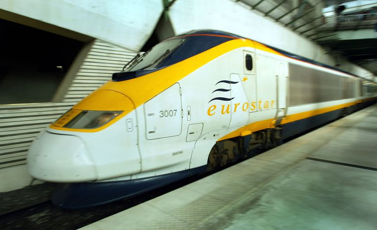 A picture of a Eurostar train that runs through the Channel Tunnel.