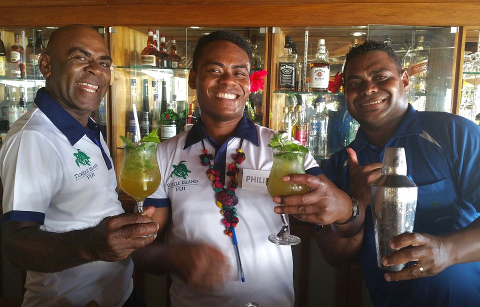 Friendly staff at Turtle Island Fiji resort