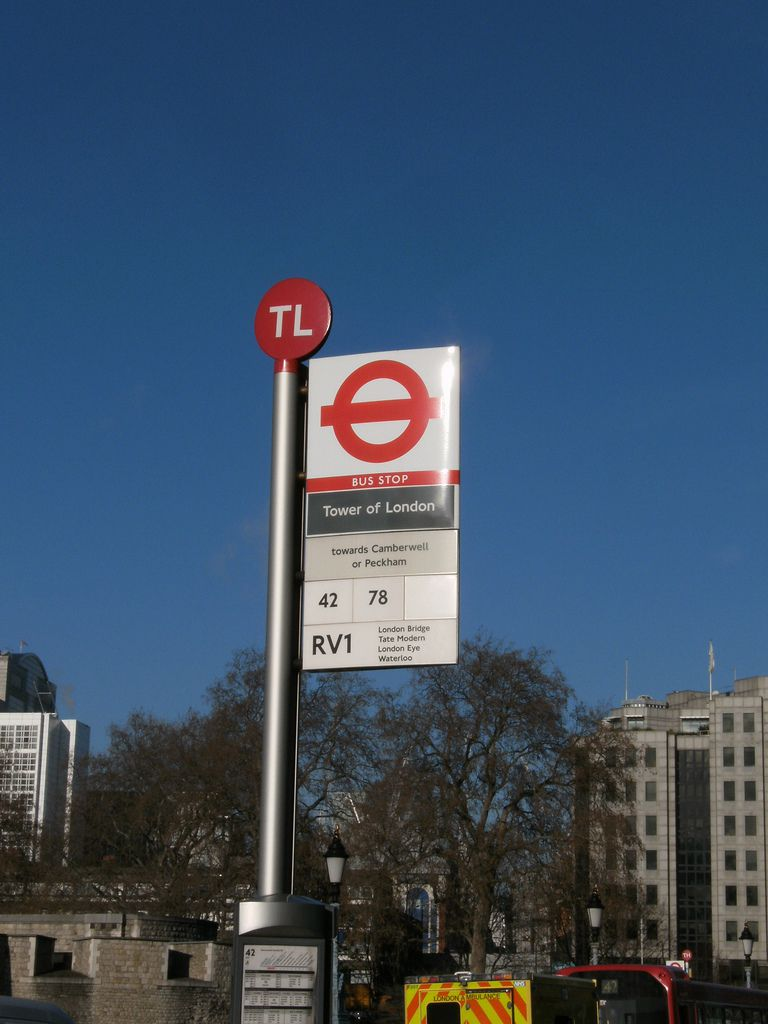Bus stop at the Tower of London