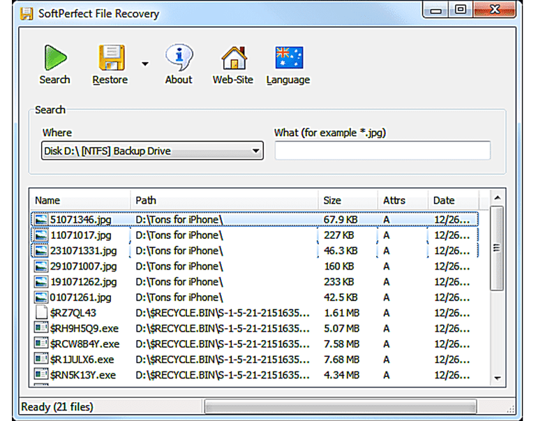 Screenshot of SoftPerfect File Recovery in Windows 7