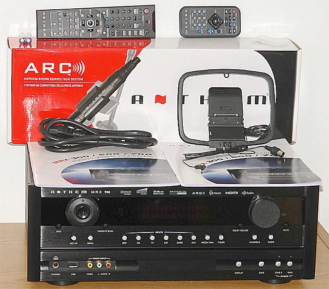 Anthem MRX700 7.1 Channel Home Theater Receiver - Front View w/Included Accessories