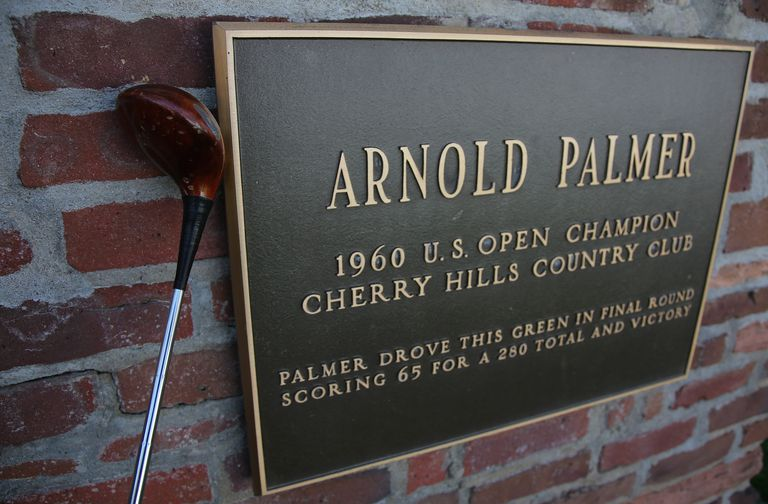 A plaque by the No. 1 tee at Cherry Hill Country Club commemorates Arnold Palmers' 1961 US Open victory