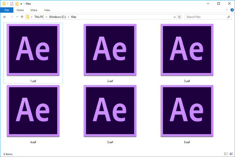 Screenshot of several AAF files in Windows 10