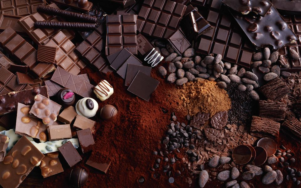 A variety of chocolates and ingredients