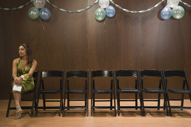 Hispanic teenaged girl sitting alone at prom