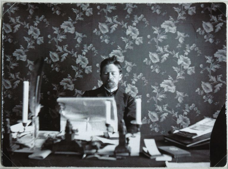 Anton Chekhov in his study in Yalta, 1895-1900