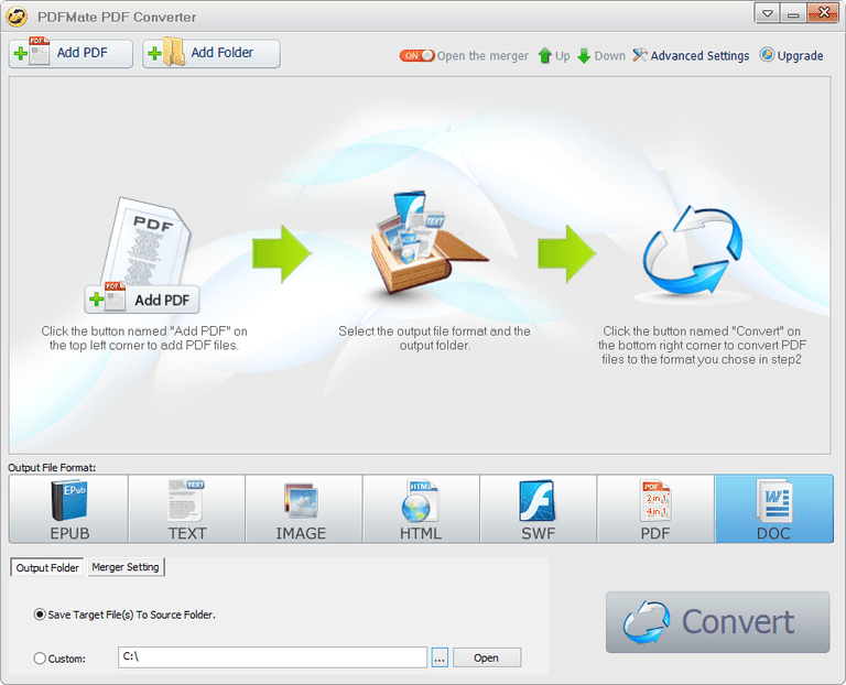 Screenshot of PDFMate PDF Converter Free in Windows 7