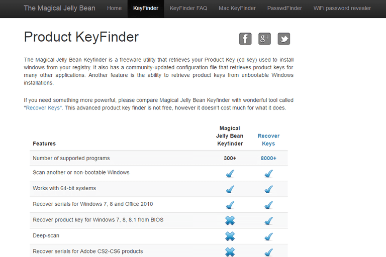 Screenshot of the Magical Jelly Bean Keyfinder Home Page