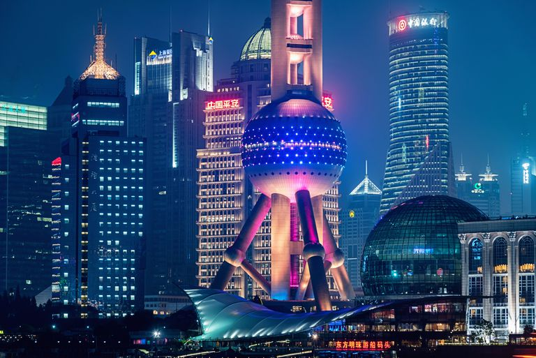 Futuristic towers and skyscrapers make up the skyline of Shanghai City in China