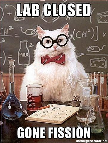 Chemistry Cat: Lab closed...Gone fission.