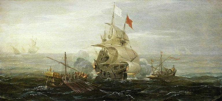 A French Ship and Barbary Pirates (c 1615) by Aert Anthoniszoon