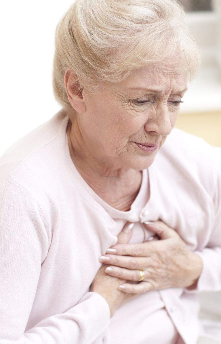 Woman grabbing chest